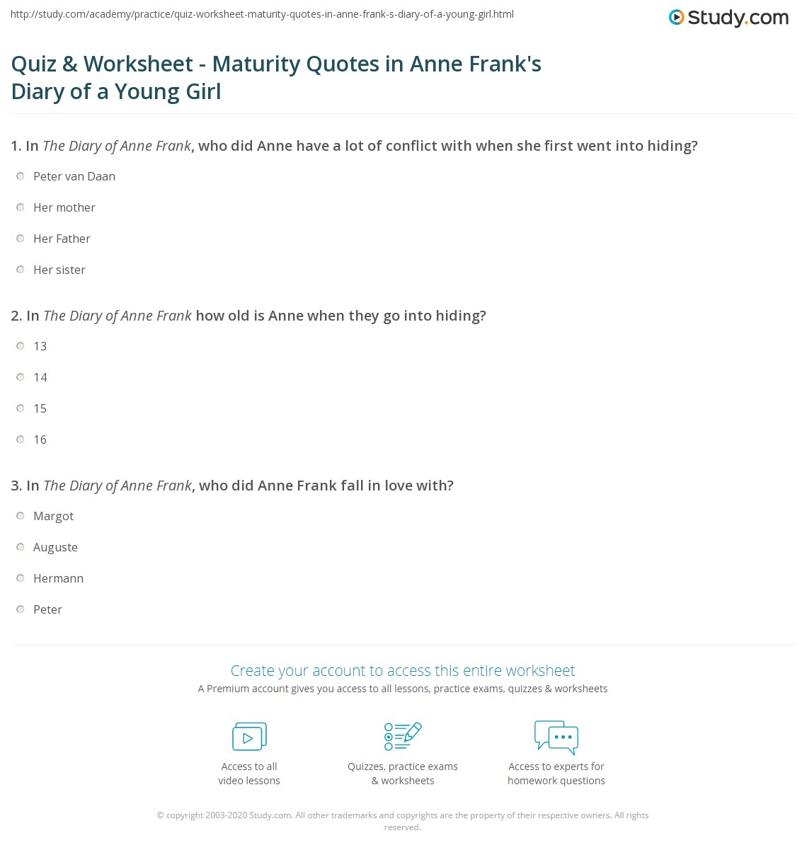 Maturity Quotes Quiz & Worksheet  Maturity Quotes In Anne Frank's Diary Of A