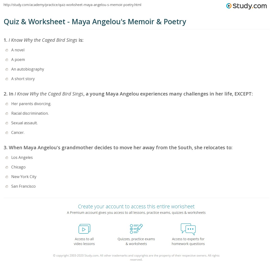 quiz worksheet a angelou s memoir poetry com print a angelou i know why the caged bird sings and poetry worksheet