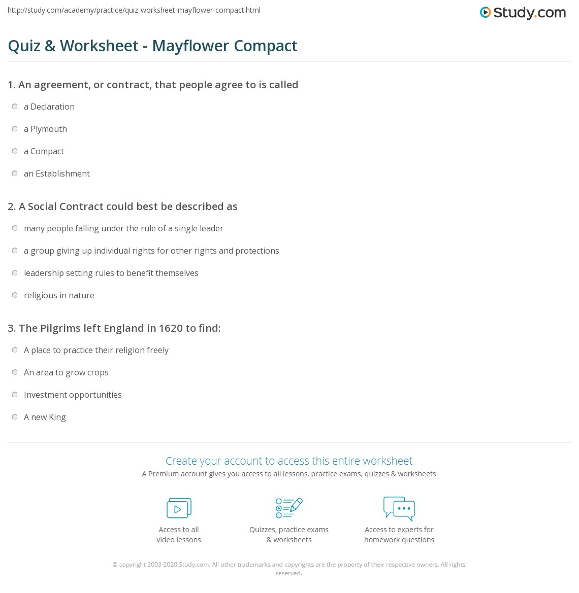 Quiz Worksheet Mayflower Compact Study
