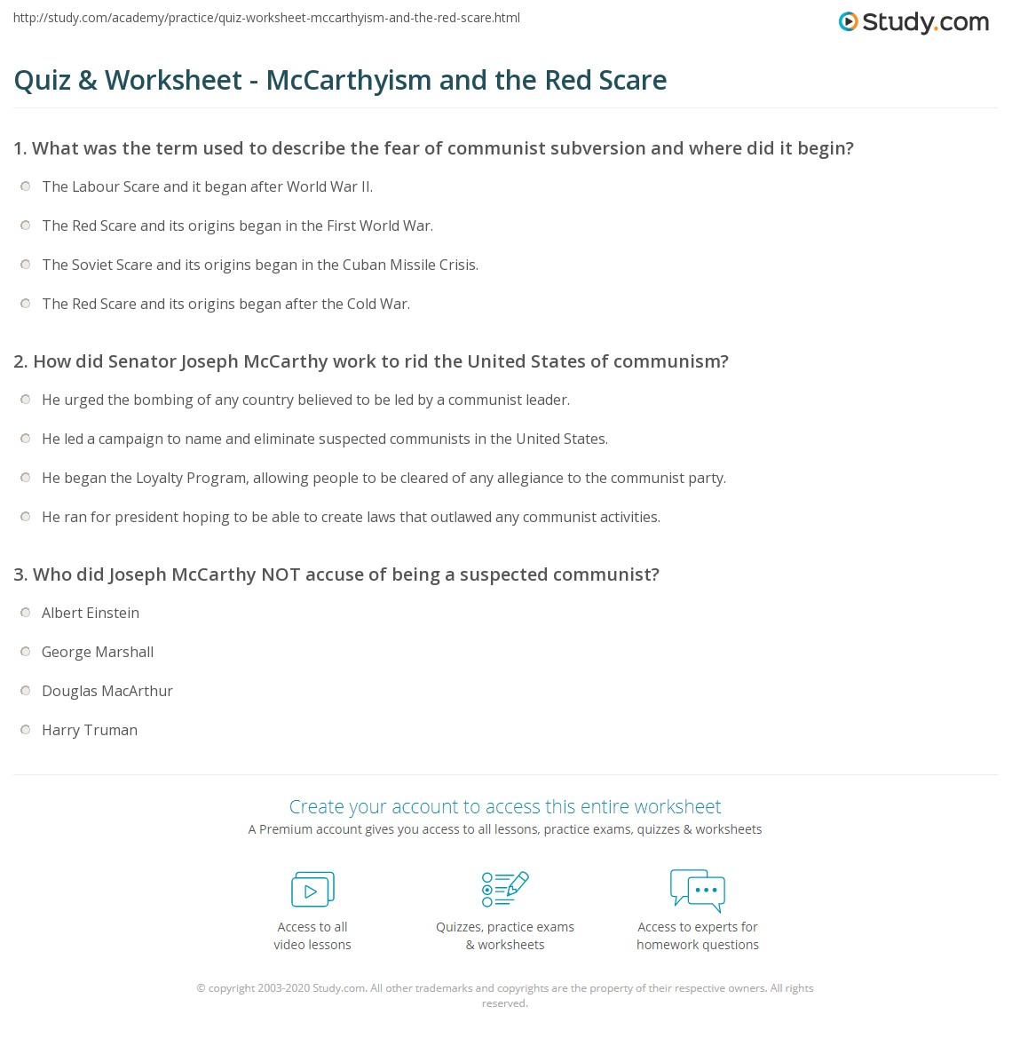 Quiz Worksheet McCarthyism and the Red Scare – Cause and Effect Worksheets 1st Grade