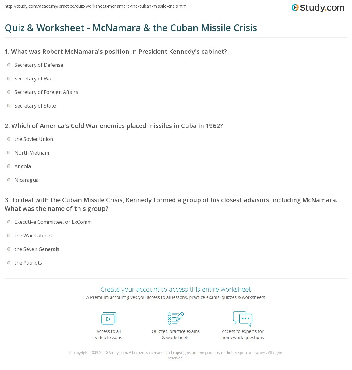 Quiz Worksheet McNamara the Cuban Missile Crisis – Cuban Missile Crisis Worksheet