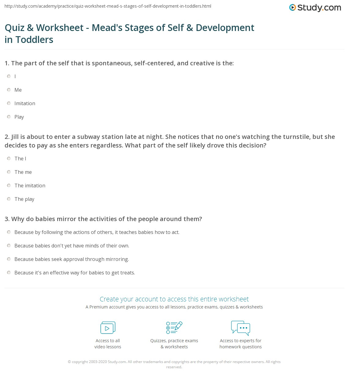 {Quiz Worksheet Meads Stages of Self Development in Toddlers – Personal Development Worksheets