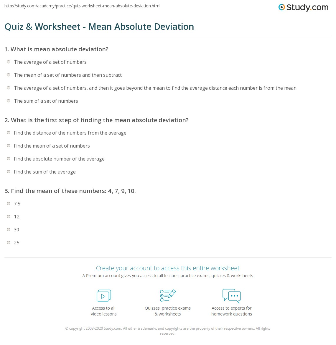 Quiz & Worksheet - Mean Absolute Deviation | Study.com