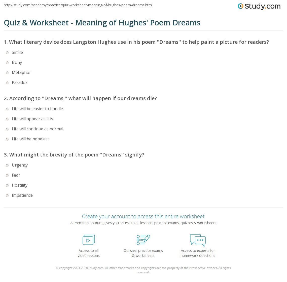 Quiz & Worksheet - Meaning of Hughes' Poem Dreams   Study.com