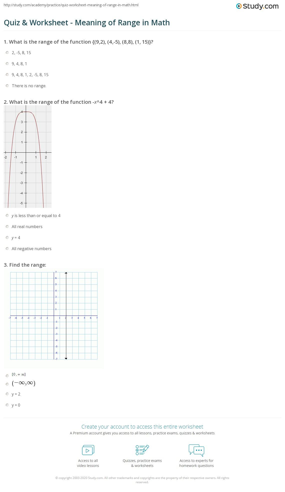 worksheet Range In Math quiz worksheet meaning of range in math study com print what is definition worksheet