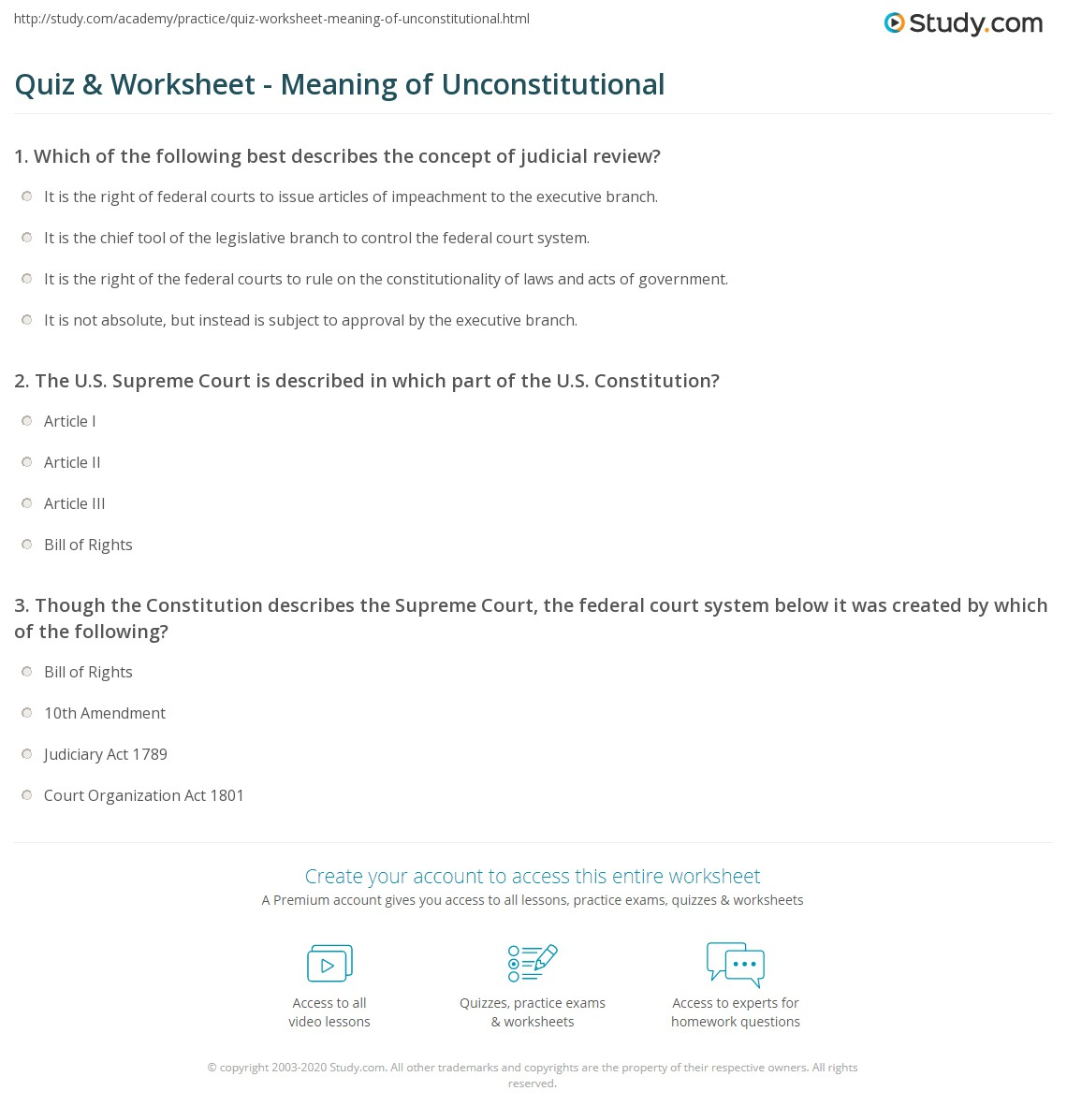quiz worksheet meaning of unconstitutional. Black Bedroom Furniture Sets. Home Design Ideas