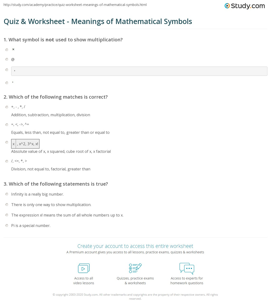 quiz & worksheet - meanings of mathematical symbols | study