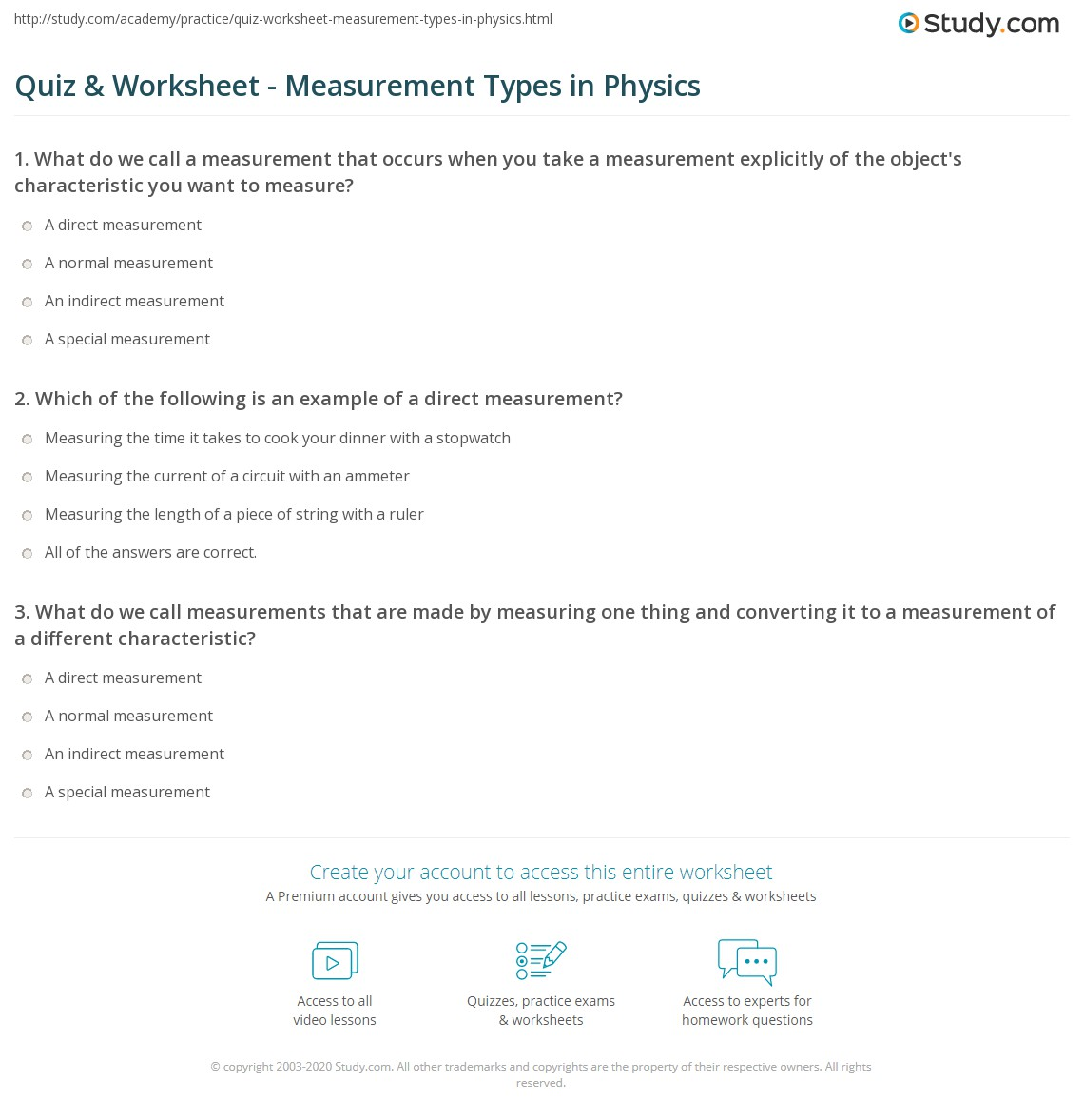 Worksheets Indirect Measurement Worksheet quiz worksheet measurement types in physics study com print direct indirect worksheet