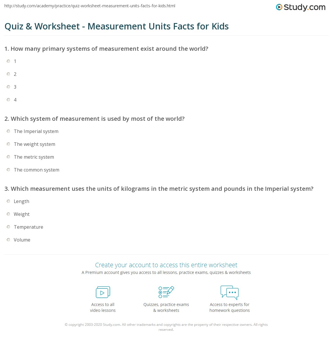 Quiz Worksheet Measurement Units Facts For Kids Study