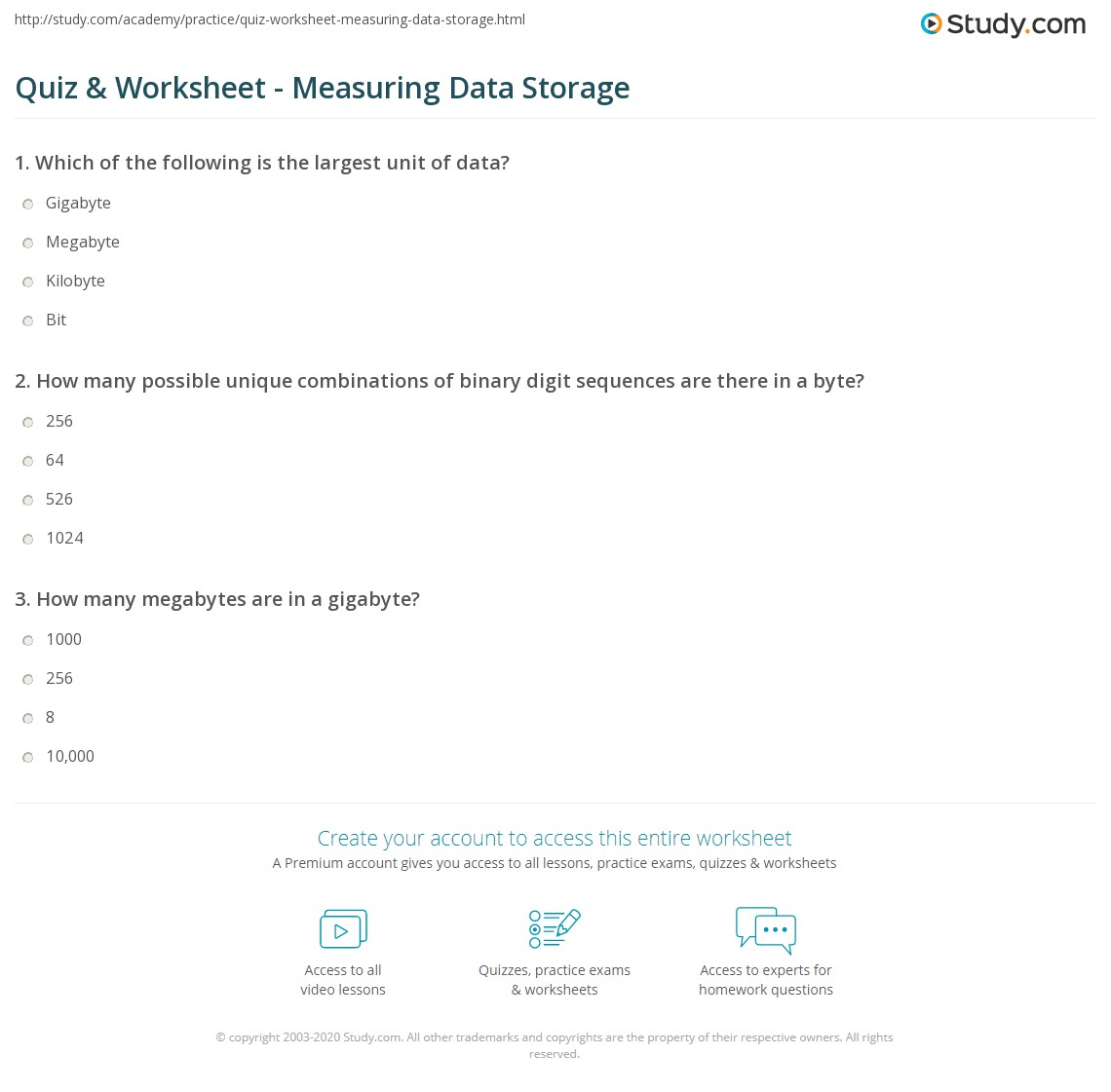quiz worksheet measuring data storage. Black Bedroom Furniture Sets. Home Design Ideas