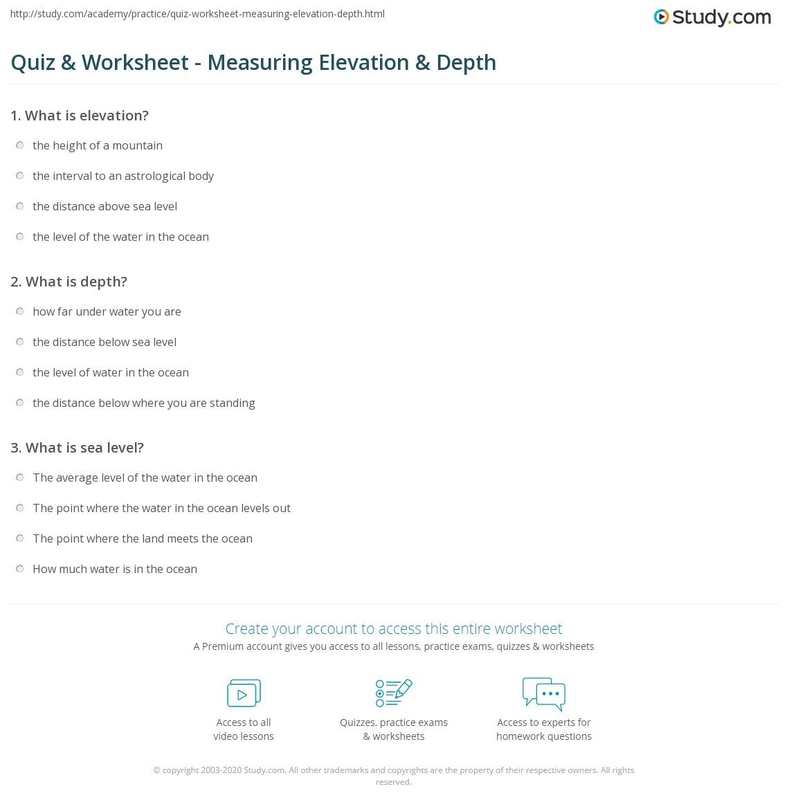 Quiz Worksheet Measuring Elevation Depth Studycom - How to determine sea level elevation