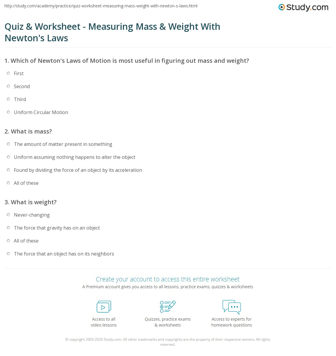 worksheet Measuring Mass Worksheet quiz worksheet measuring mass weight with newtons laws print worksheet