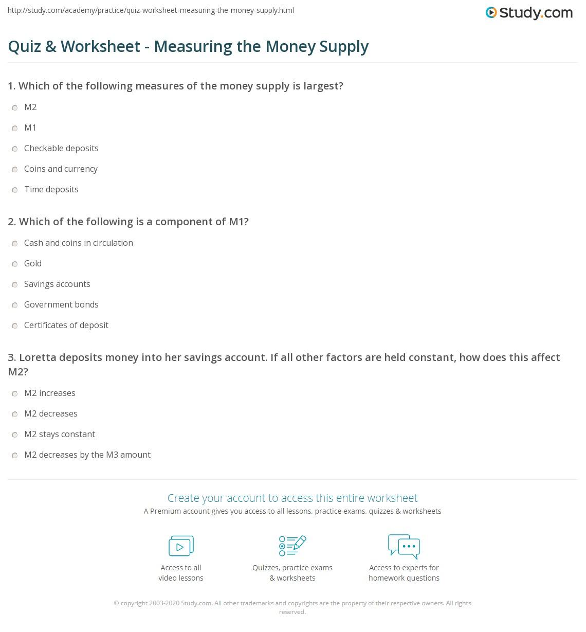 worksheet M1 Worksheets quiz worksheet measuring the money supply study com print explanation and examples worksheet