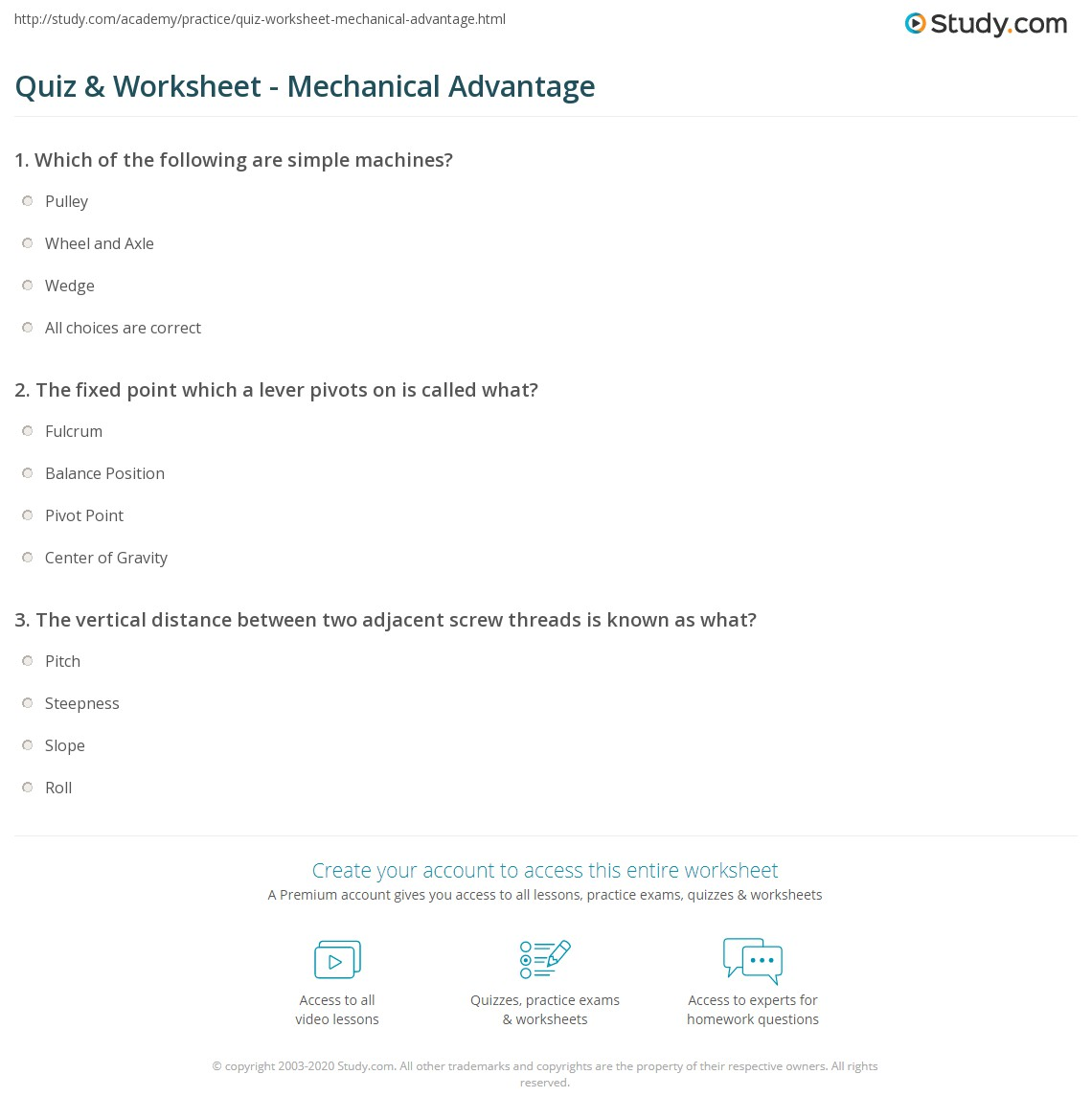 quiz worksheet mechanical advantage. Black Bedroom Furniture Sets. Home Design Ideas