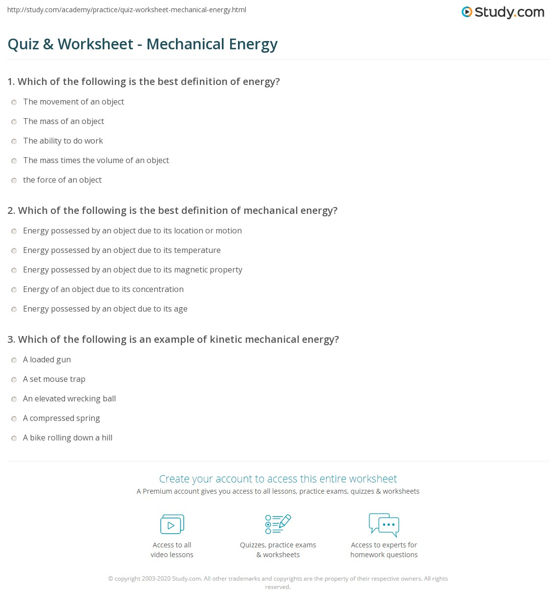 Quiz & Worksheet - Mechanical Energy | Study.com