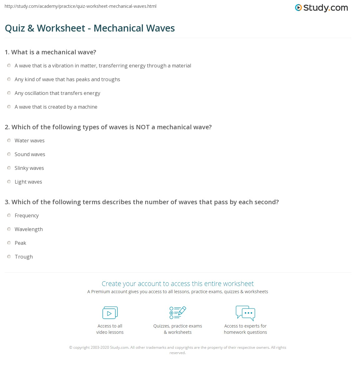 quiz worksheet mechanical waves. Black Bedroom Furniture Sets. Home Design Ideas