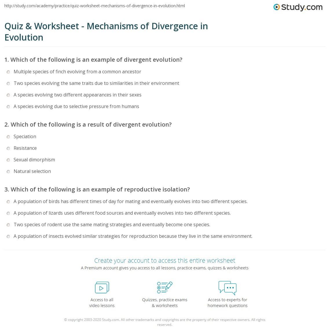 Quiz Worksheet Mechanisms Of Divergence In Evolution Study