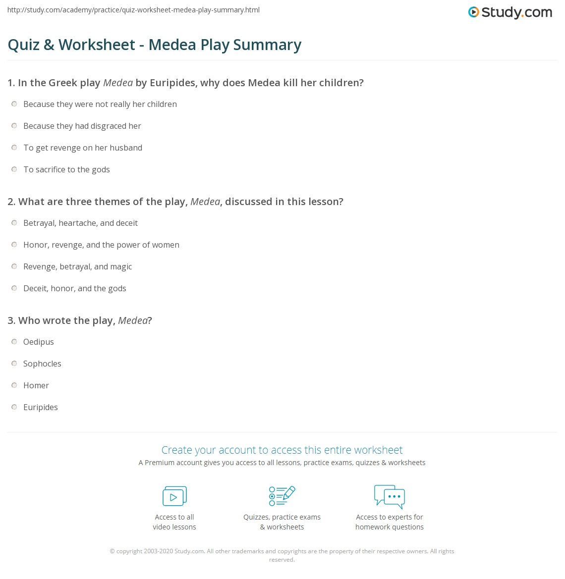 quiz worksheet medea play summary com print euripides medea play summary worksheet