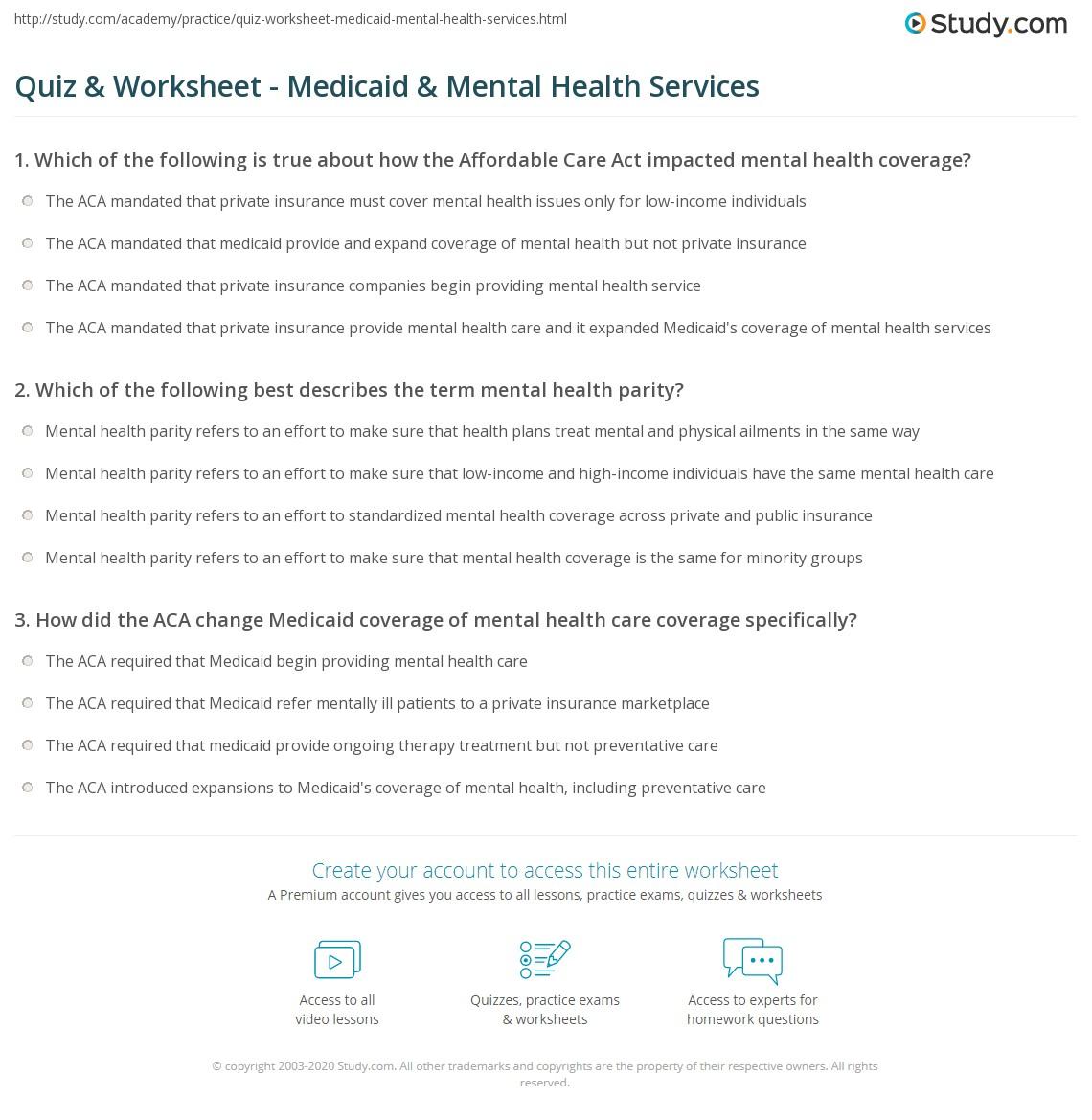 Quiz Worksheet Medicaid Mental Health Services Study Com