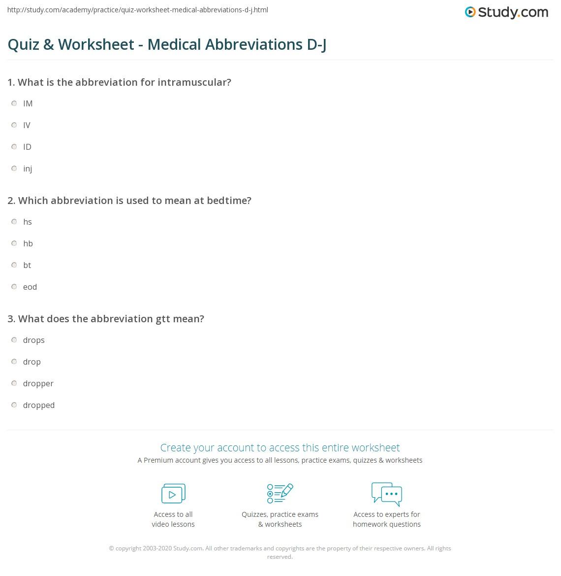 worksheet Abbreviation Worksheets quiz worksheet medical abbreviations d j study com print common worksheet
