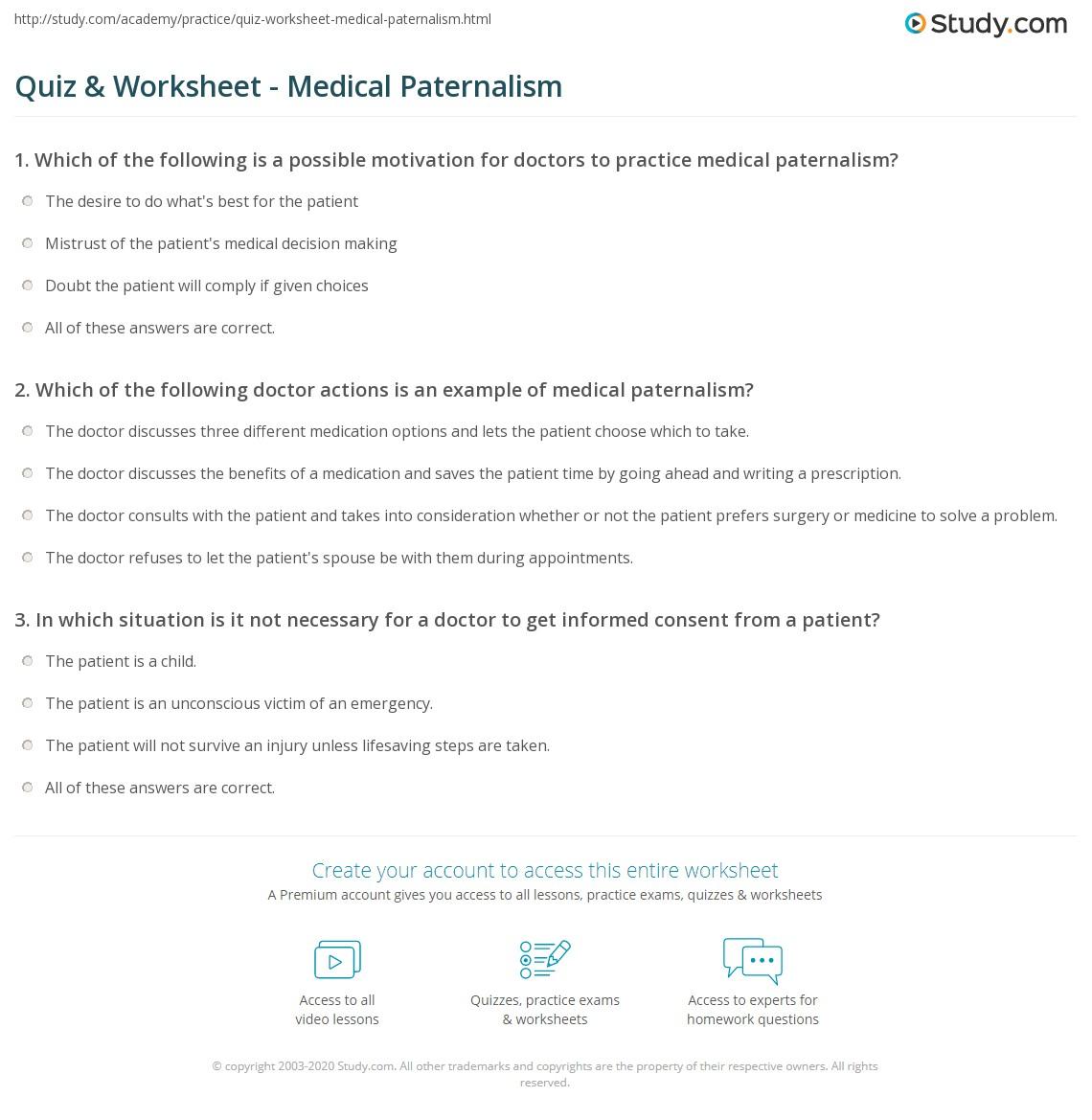 Quiz & Worksheet - Medical Paternalism   Study.com