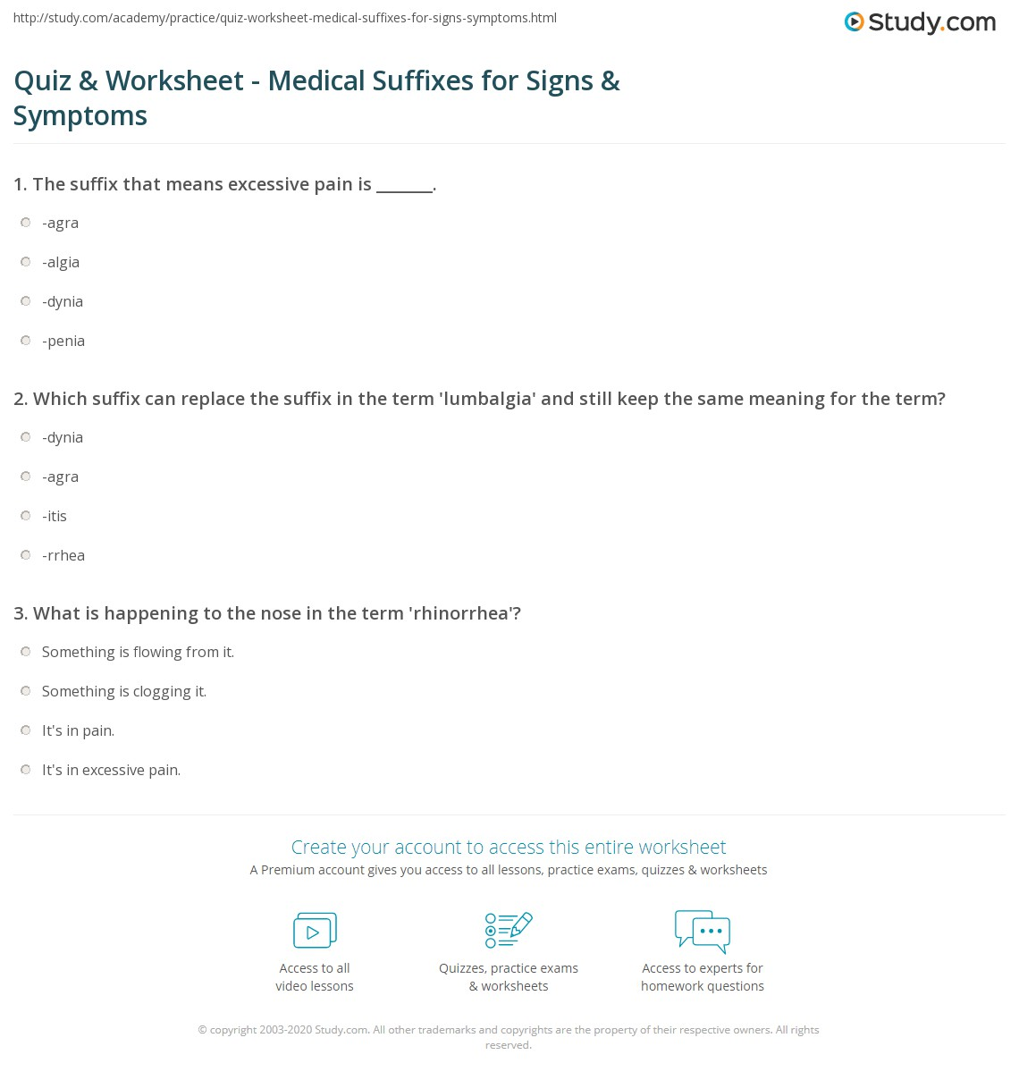 Quiz & Worksheet - Medical Suffixes for Signs & Symptoms | Study.com