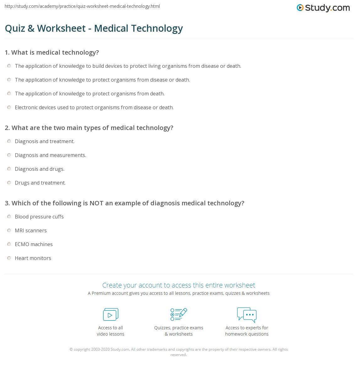 Worksheets Medical Math Worksheets quiz worksheet medical technology study com print definition examples worksheet