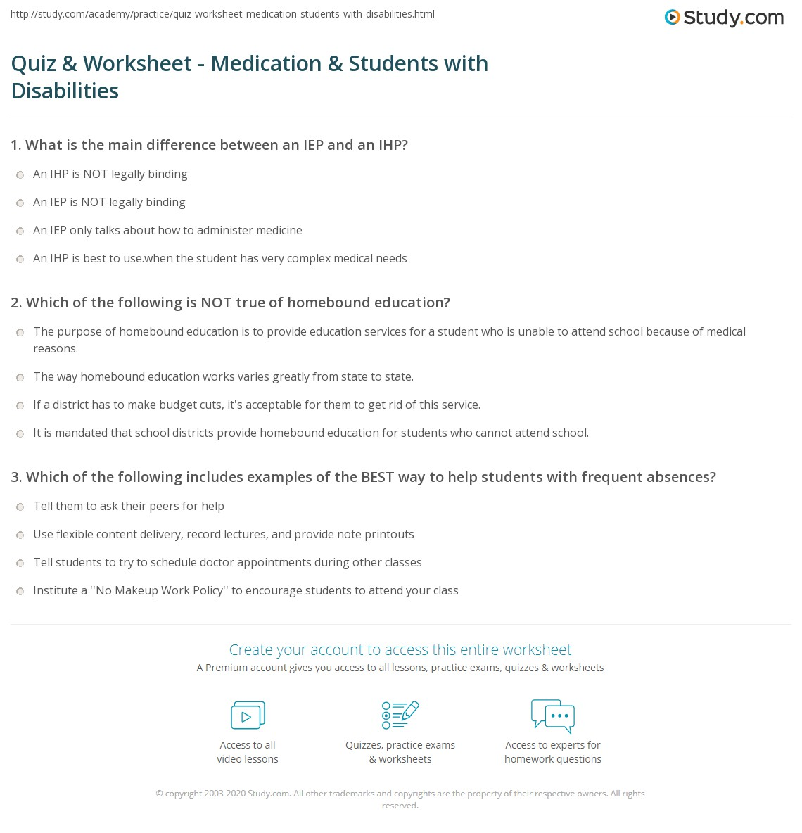 quiz worksheet medication students with disabilities study com