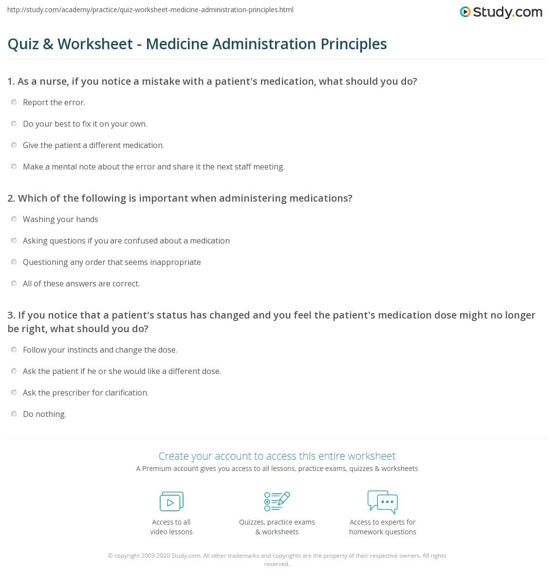 Worksheets Medication Management Worksheets quiz worksheet medicine administration principles study com print of medication worksheet