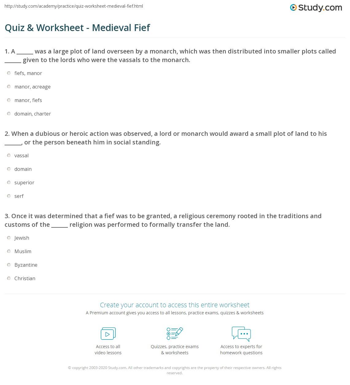 Attractive Print Medieval Fief: Definition U0026 Overview Worksheet