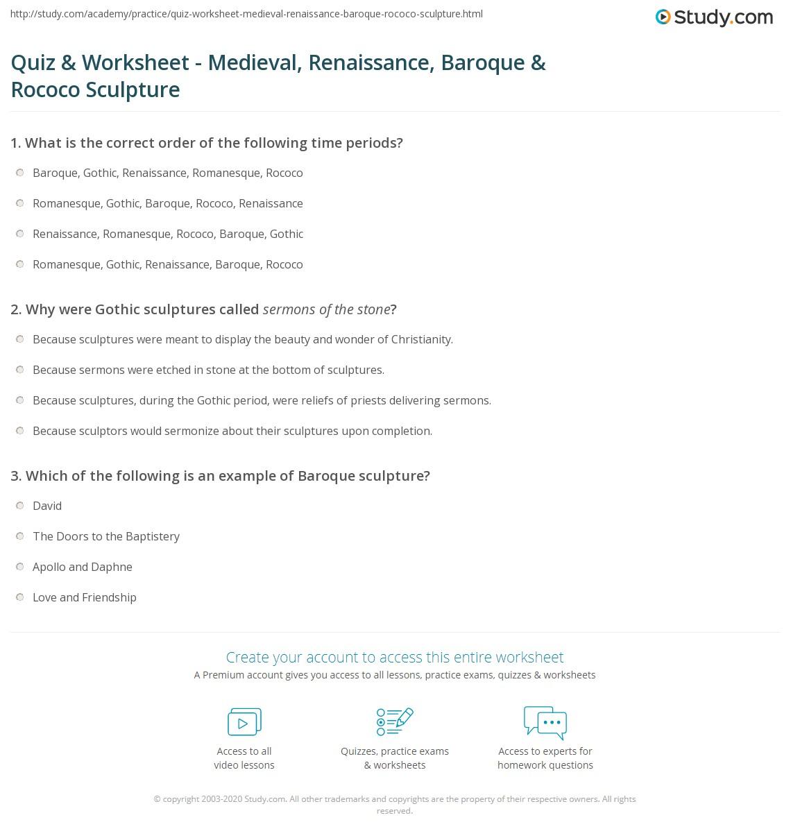 Quiz Worksheet Medieval Renaissance Baroque Rococo – Renaissance Worksheet