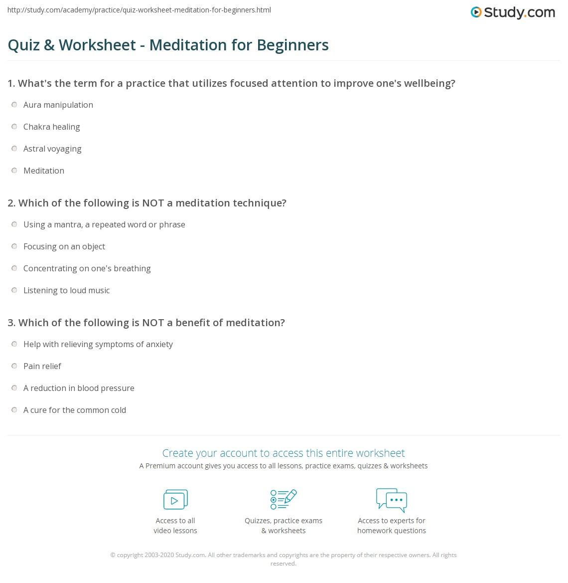 Quiz Worksheet Meditation For Beginners Study