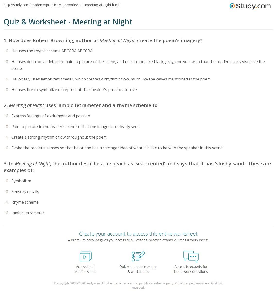 Quiz Worksheet Meeting At Night Study