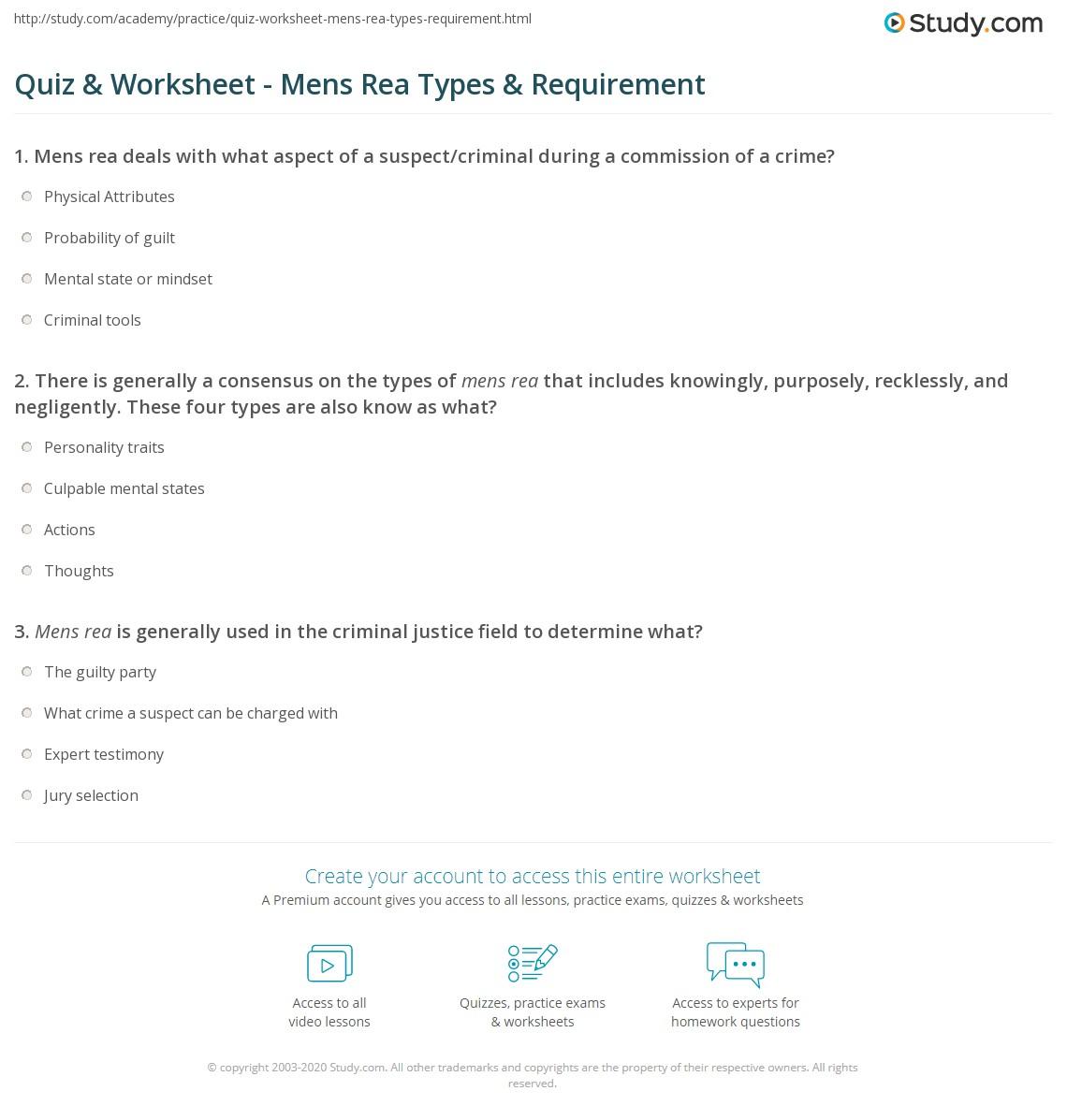 Quiz Amp Worksheet Mens Rea Types Amp Requirement Study Com