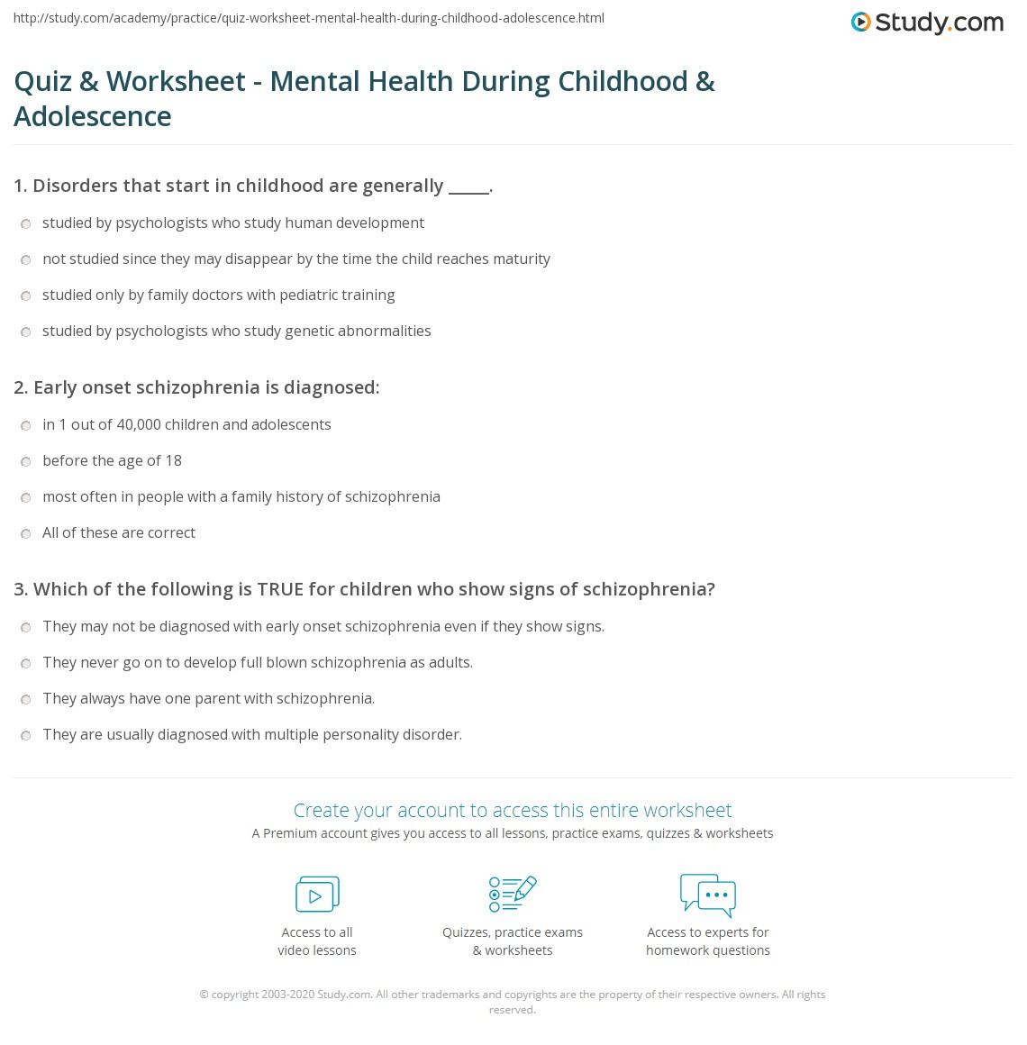 Quiz Worksheet Mental Health During Childhood
