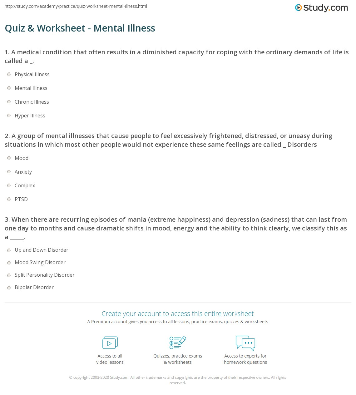 worksheet Mental Illness Worksheets quiz worksheet mental illness study com a group of illnesses that cause people to feel excessively frightened distressed or uneasy during situations in which most other would n