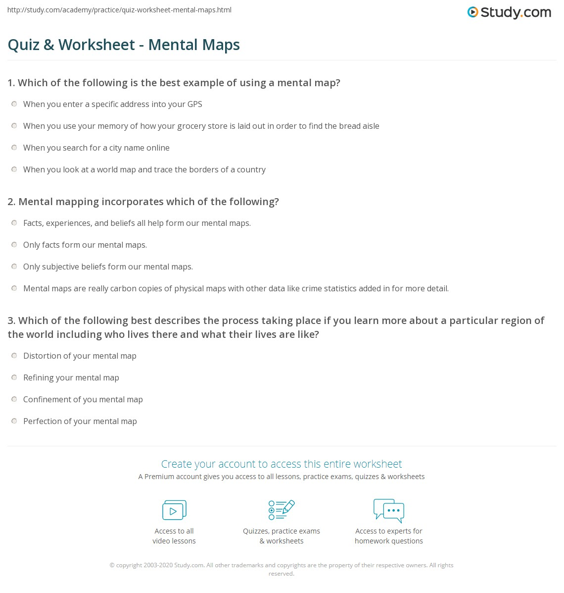 Quiz worksheet mental maps study print mental maps in geography worksheet gumiabroncs Choice Image