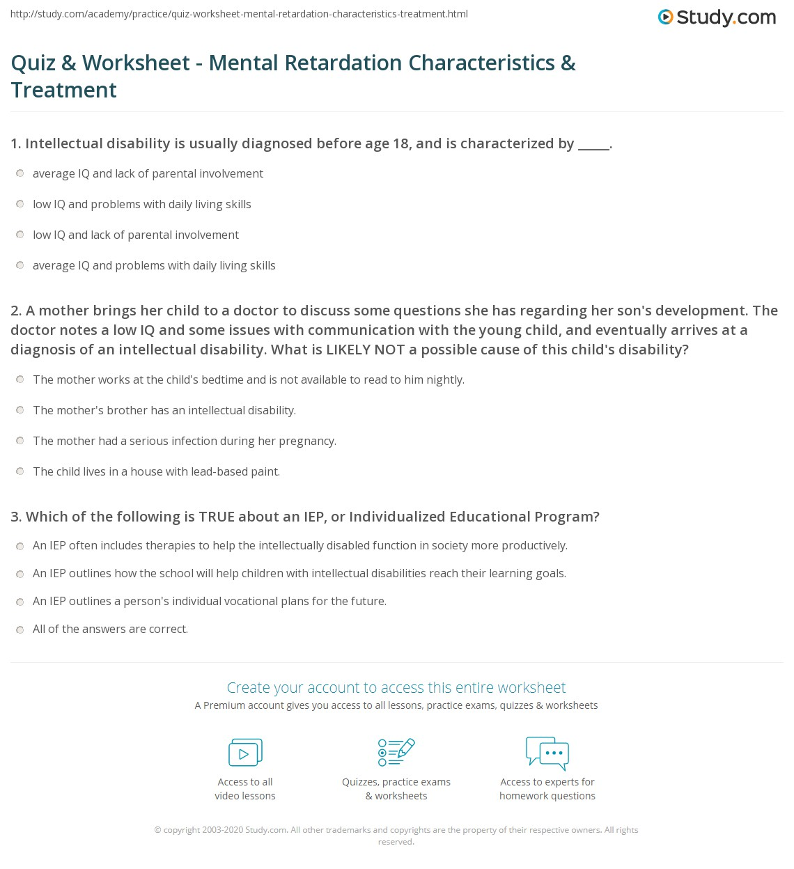quiz & worksheet - mental retardation characteristics & treatment