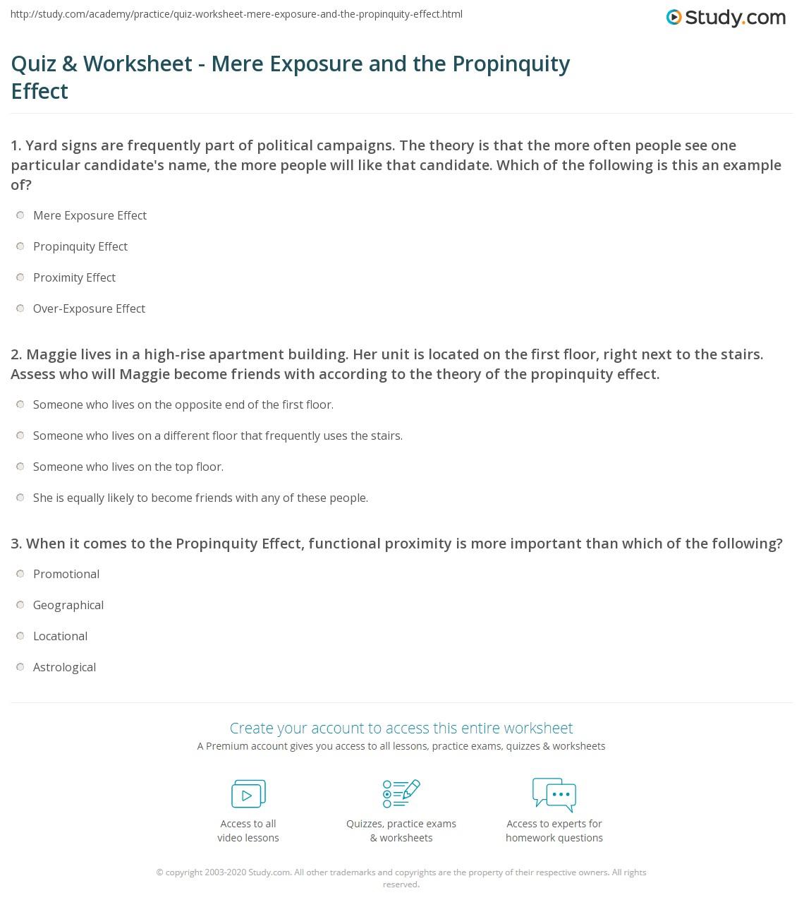 Quiz Worksheet Mere Exposure and the Propinquity Effect – Skeletal System Worksheet High School