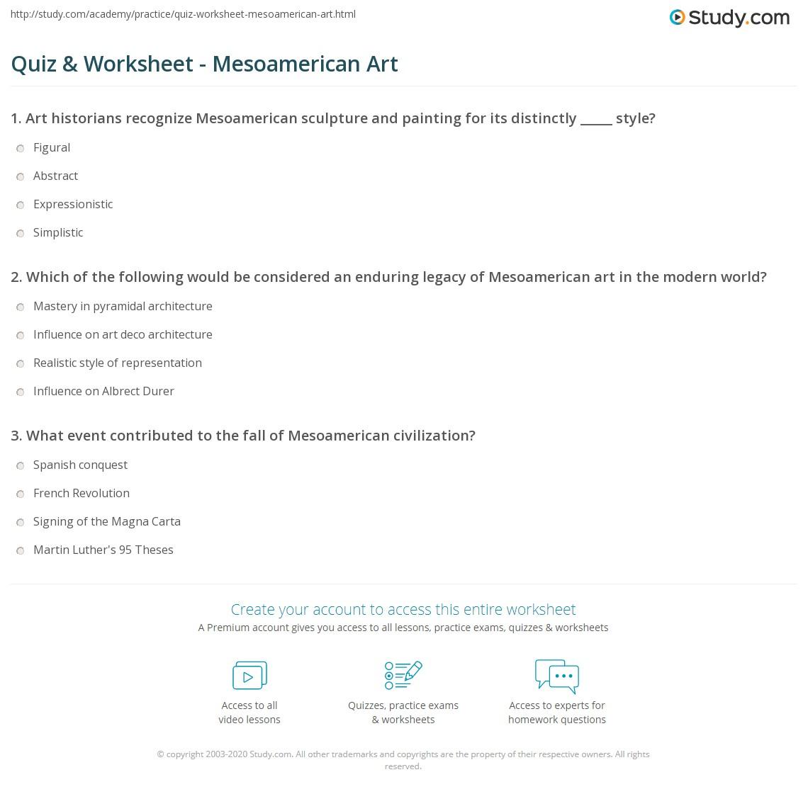 worksheet Magna Carta Worksheet quiz worksheet mesoamerican art study com print of mesoamerica worksheet