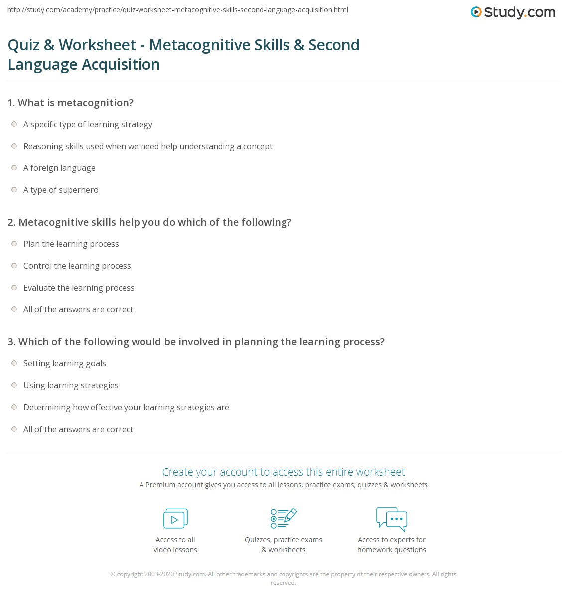 worksheet English As A Second Language Worksheets quiz worksheet metacognitive skills second language print used in learning a worksheet