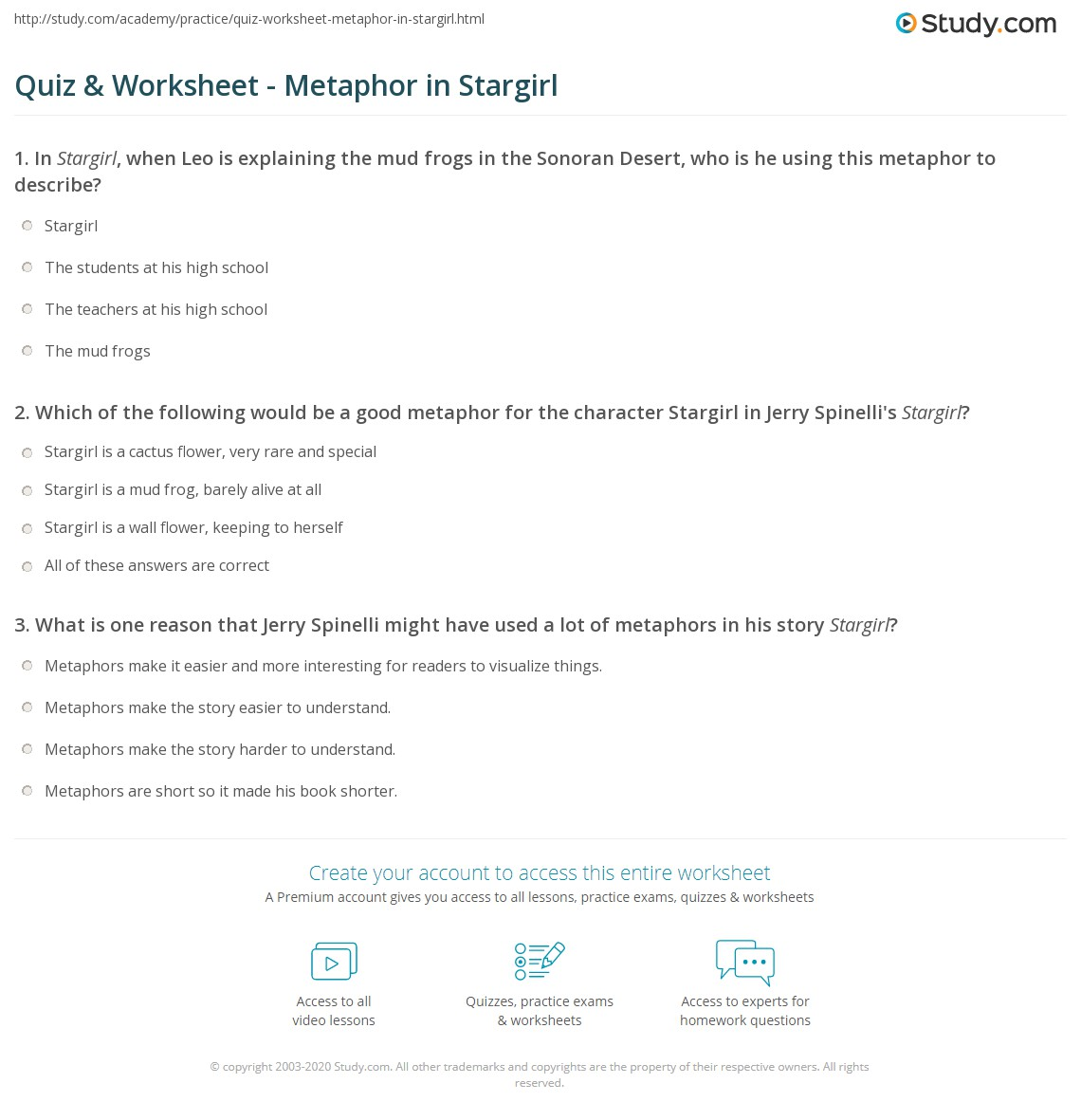Quiz Worksheet Metaphor in Stargirl – Metaphors Worksheet
