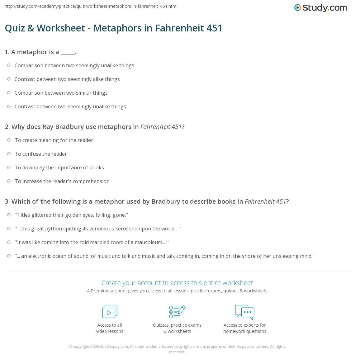 Quiz Worksheet Metaphors In Fahrenheit 451 Study