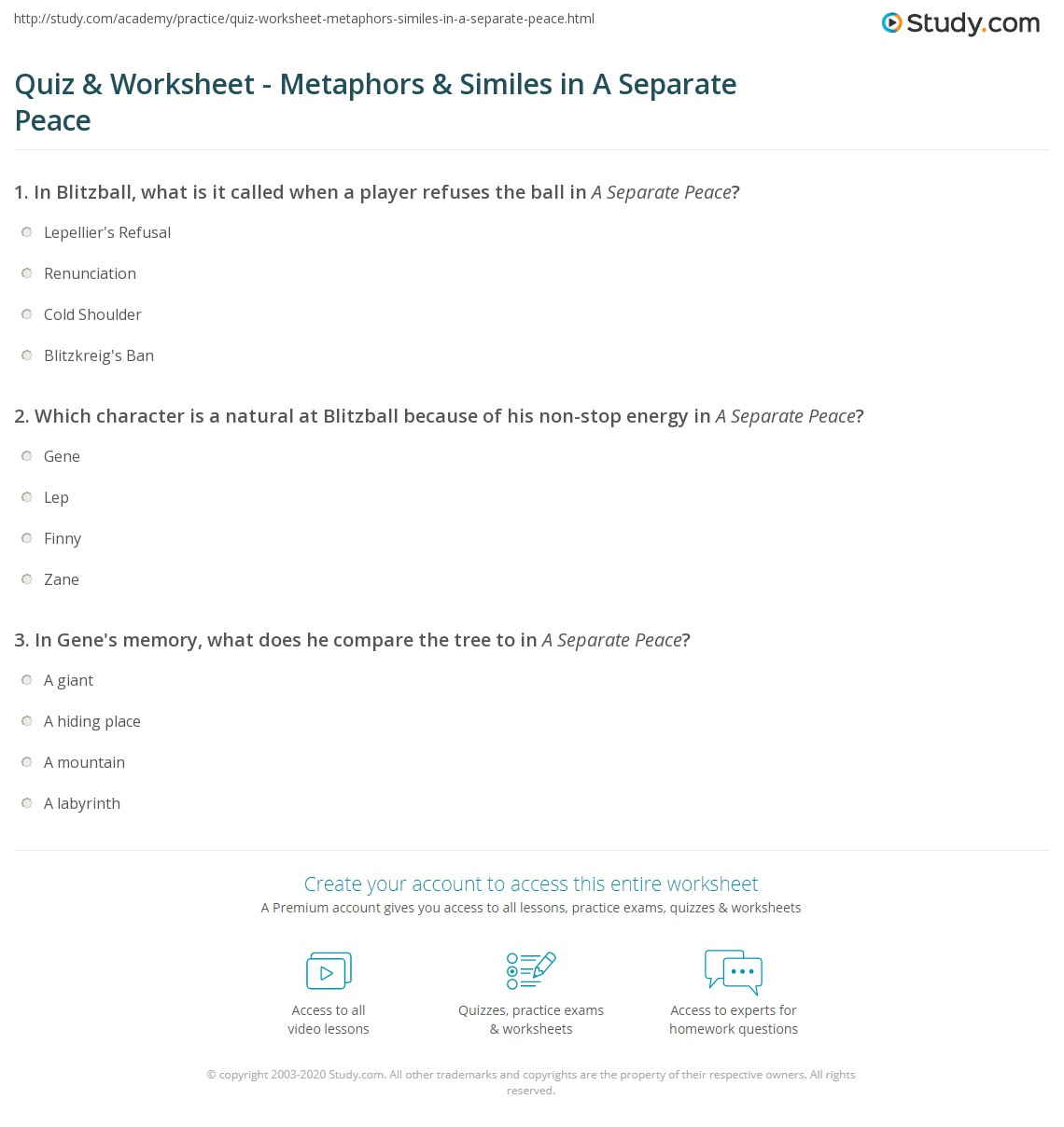 Quiz Worksheet Metaphors Similes in A Separate Peace – Metaphors Worksheet