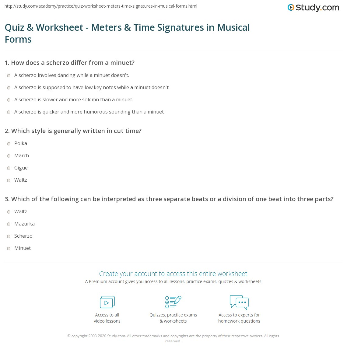 quiz worksheet meters time signatures in musical forms. Black Bedroom Furniture Sets. Home Design Ideas