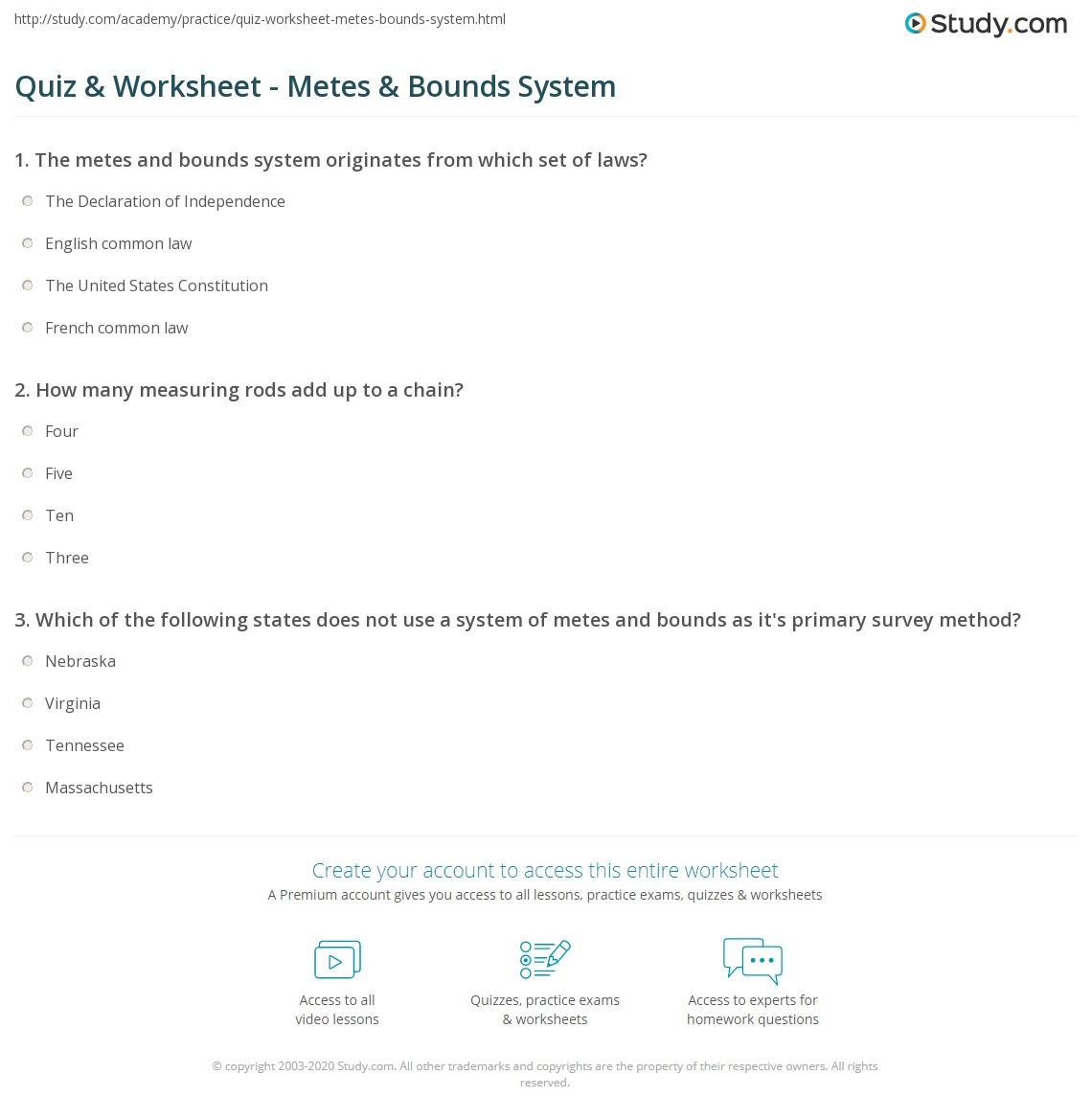 Quiz Worksheet Metes Bounds System Study