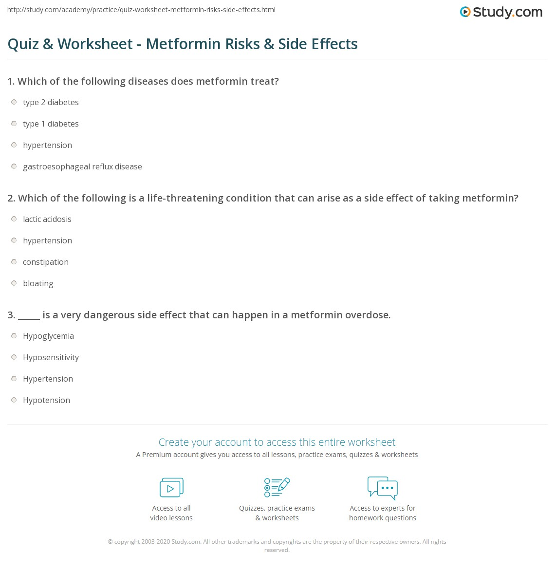 Quiz & Worksheet - Metformin Risks & Side Effects | Study com