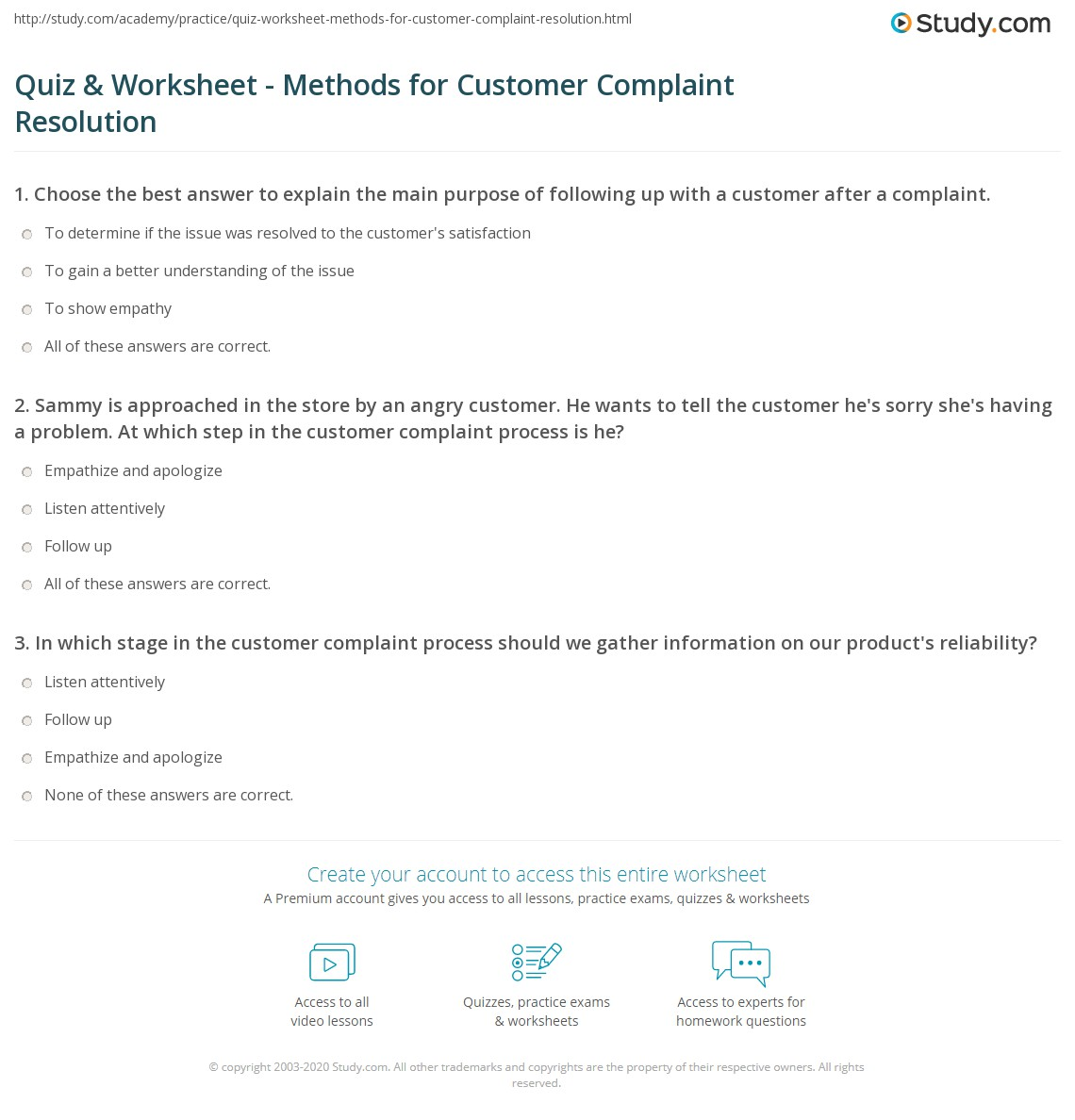 Workbooks workbook methods : Quiz & Worksheet - Methods for Customer Complaint Resolution ...