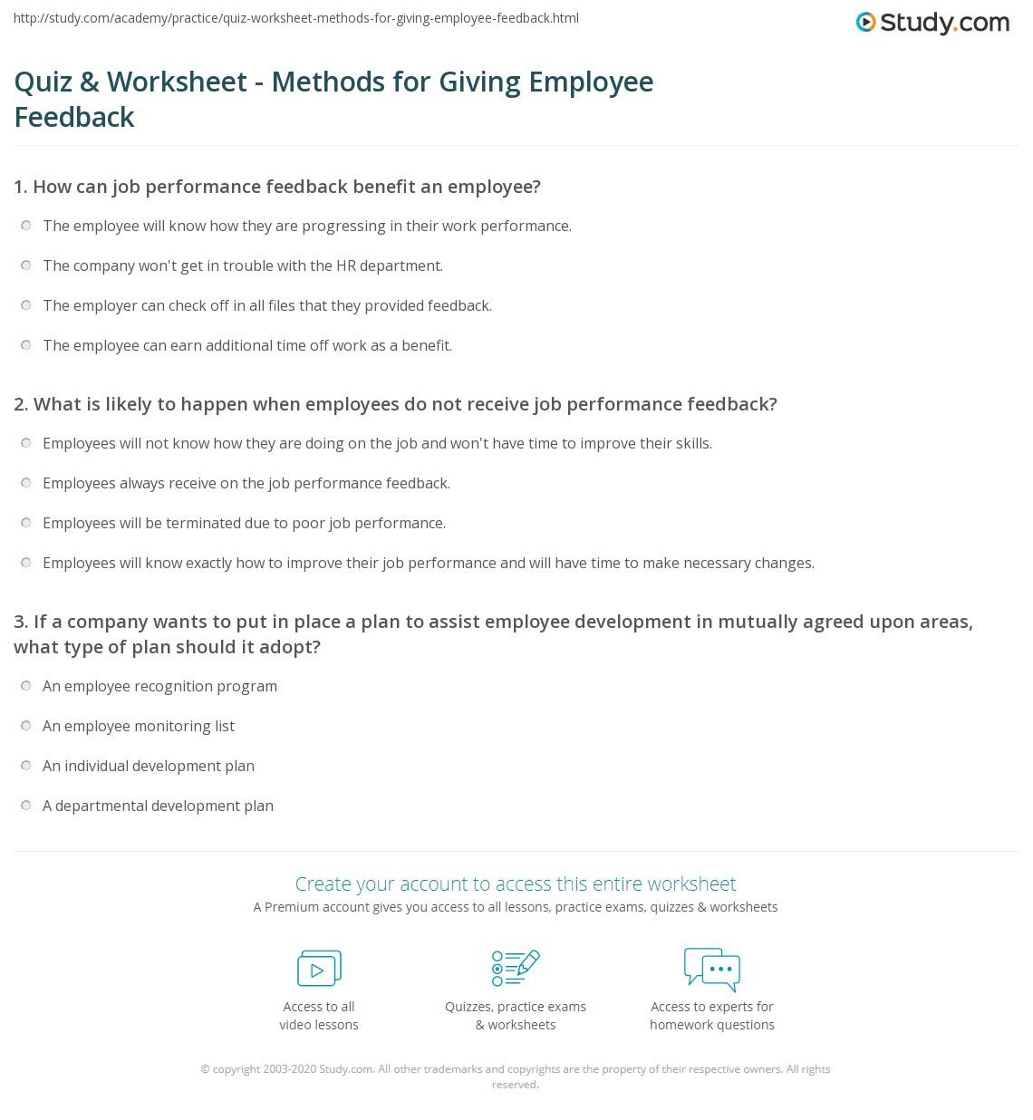 Printables Performance Feedback Worksheet quiz worksheet methods for giving employee feedback study com print job performance examples worksheet