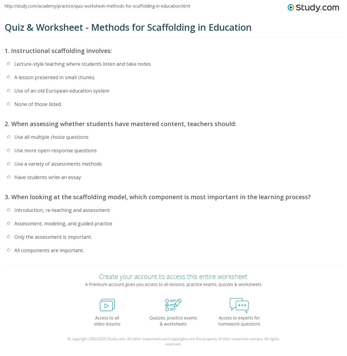 Quiz Worksheet Methods For Scaffolding In Education Study